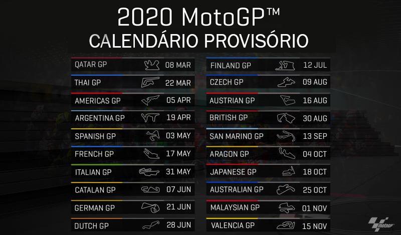 Moto Gp Calendario 2020.Motogp Calendario Provisorio De 2020 Apresentado